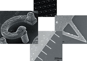 Array of microscale (typical dimensions: 8 μm thick and 11 μm wide, and 75-90 μm tall) and nanoscale (typical dimensions:  50-100 nm wide, 30 nm thick, and 1000 nm long), freestanding structures for microelectronic packaging, probing, and disease diagnostic and bio-sensing applications.