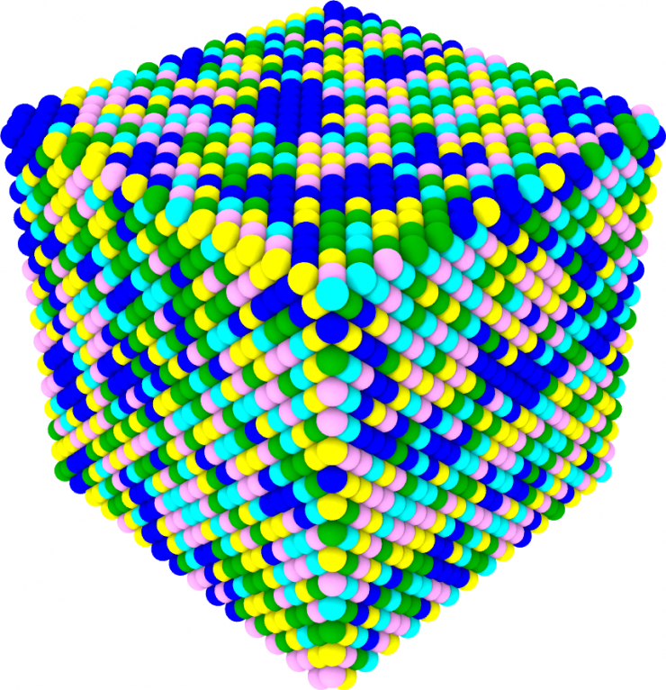 This schematic illustration of the new palladium-containing high entropy allow shows how new alloy contains large palladium clusters (blue atoms).
