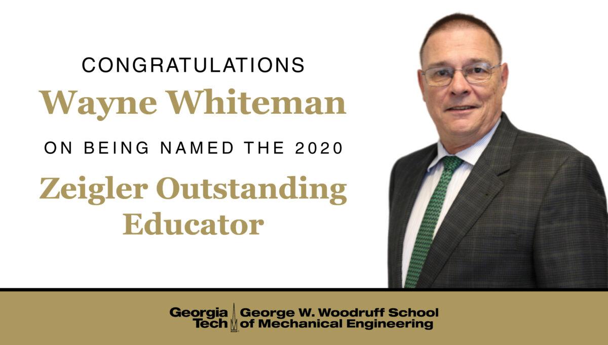 Wayne Whiteman selected for Zeigler Award