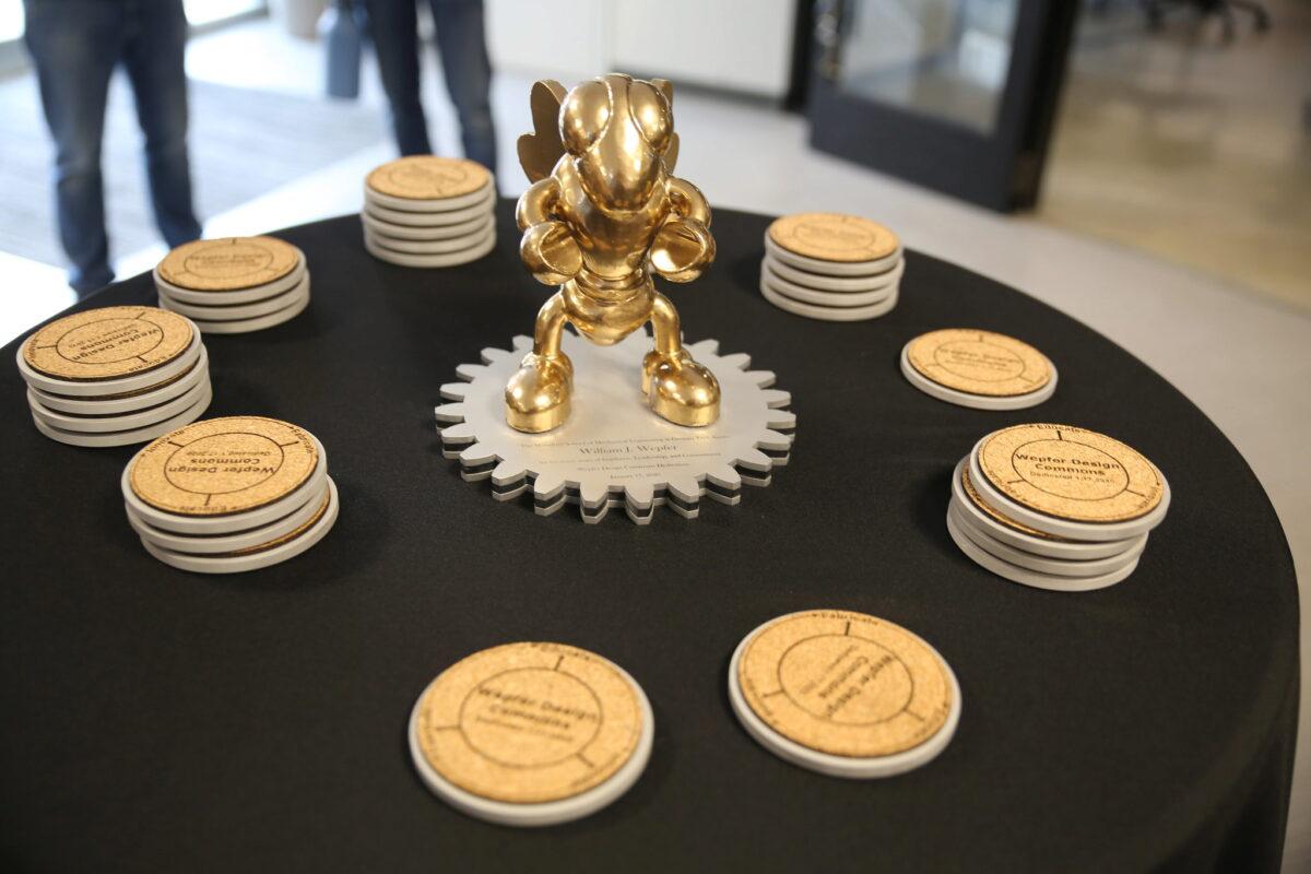 Wepfer Design Commons Dedication- Buzz statue
