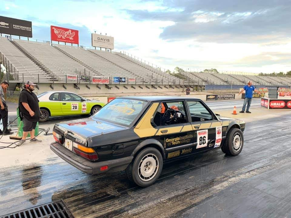 Wreck Racing's 1986 BMW 528e on the track