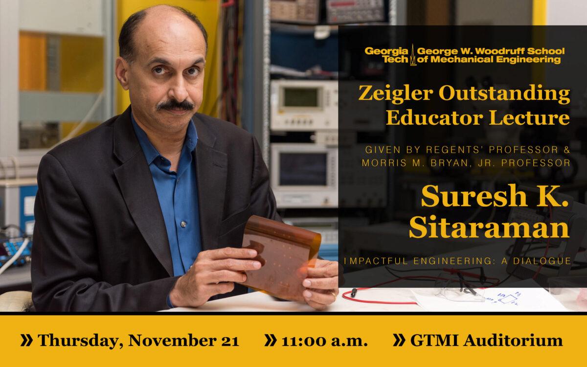 Zeigler Outstanding Educator Lecture- Nov. 21, 11 am, GTMI