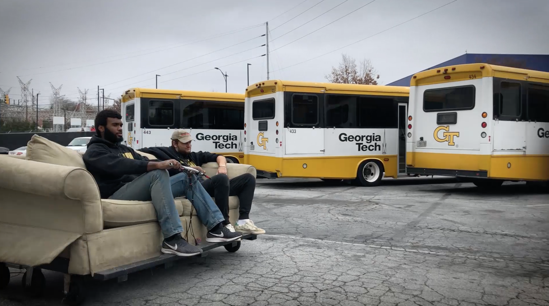 After receiving a bunch of decommissioned electric scooter parts from Lime, team members from Georgia Tech's Wreck Racing used the parts to build a couch they can drive around. (It's pretty incredible.)