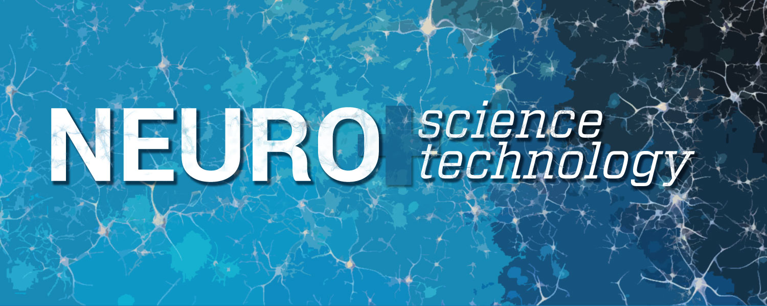 Graphic: blue background with neurons and the words neuro + science technology