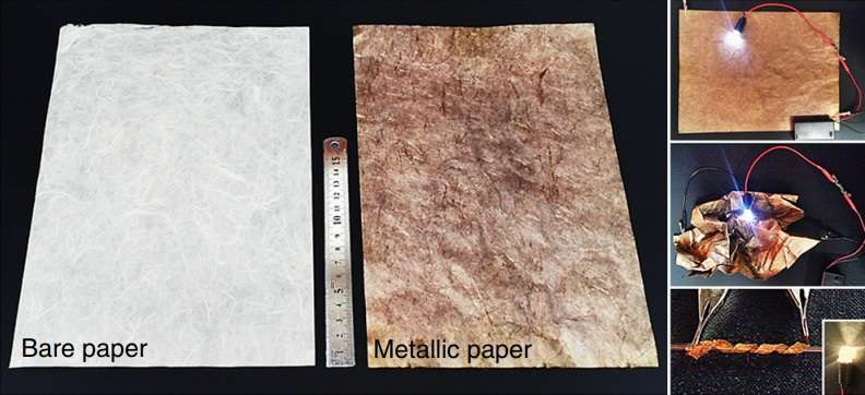 Photographs of the original paper and the paper coated with gold nanoparticles, which can be used to light LEDs.