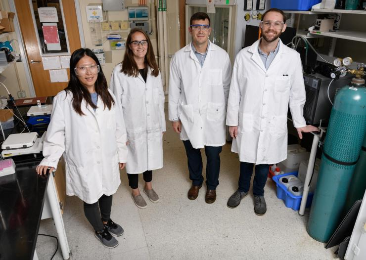 Shown (l-r) are graduate research assistant Yu-Hsuan Liu, assistant professor Marta Hatzell, assistant professor Andrew Medford and graduate research assistant Benjamin Comer.