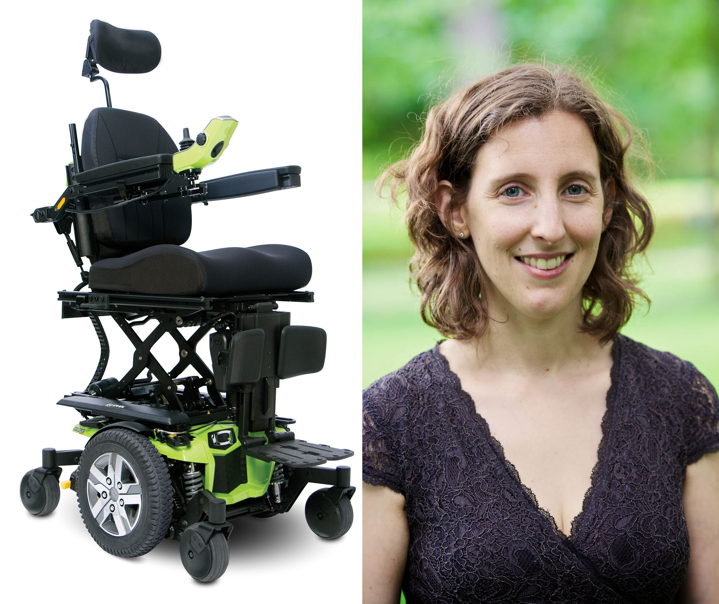 Woodruff School Senior Research Scientist Sharon Sonenblum and Quantum Rehab wheelchair